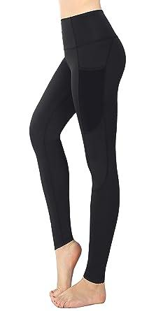 Munvot Pantalon de Sport Femme Legging Coton Fitness Gym Pilate Collants  Running Noir Gris Taille Haute 289dff60e01