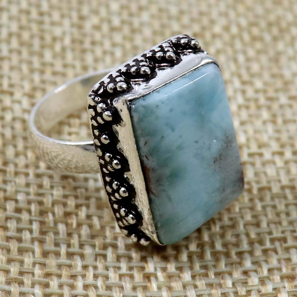 GoyalCrafts Natural Larimar Gemstone Ring US-5.75 Silver Plated Jewelry GRE-03