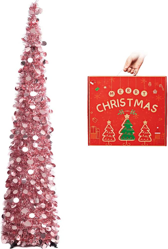 N&T NIETING Christmas Tree, 5ft Collapsible Pop Up Rose Gold Tinsel Christmas Tree Coastal Christmas Tree for Holiday Xmas Decorations, Home Display, Office Decor