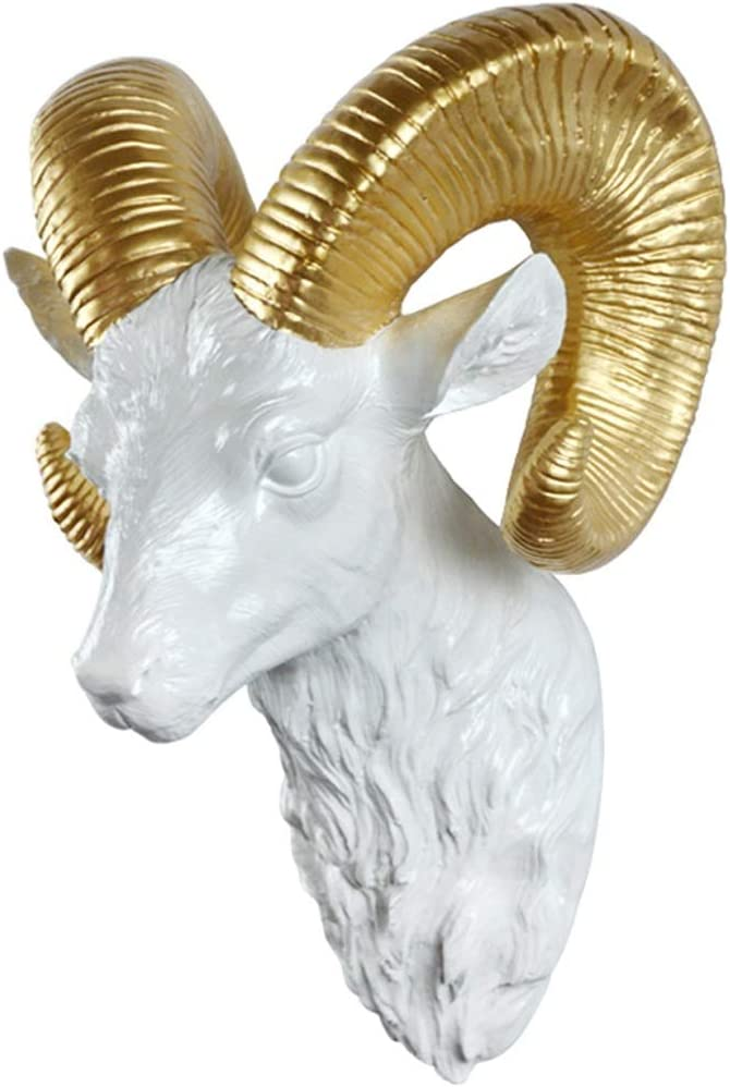 Sculpture Sheep Head Animal Living Room Bedroom Deer Gold Horn White 3 D Three-Dimensional Large Resin 222133cm Statues (Color : Gold)
