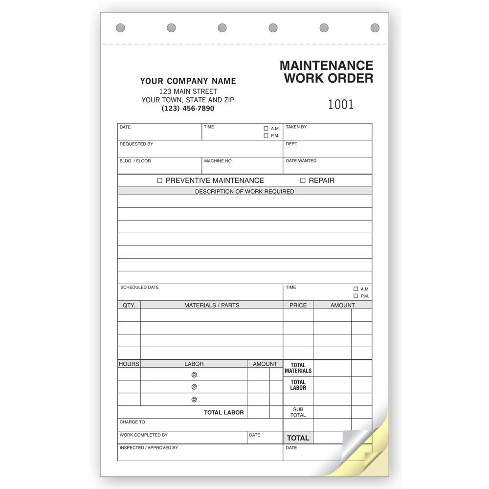 maintenance work order form  CheckSimple Maintenance Work Orders - Building, Auto, General Maintenance -  Customized - (7 7-Part Forms)