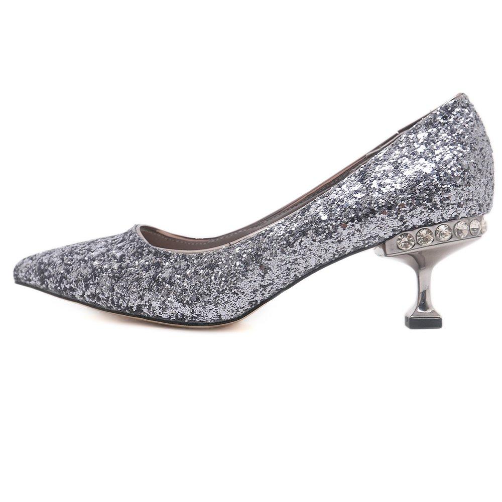 Zapatos De Mujer Tacones Altos Lentejuelas Sexy Boca Baja Puntiaguda Tacones  De Tacón De Aguja Sandalias be272a604dfe