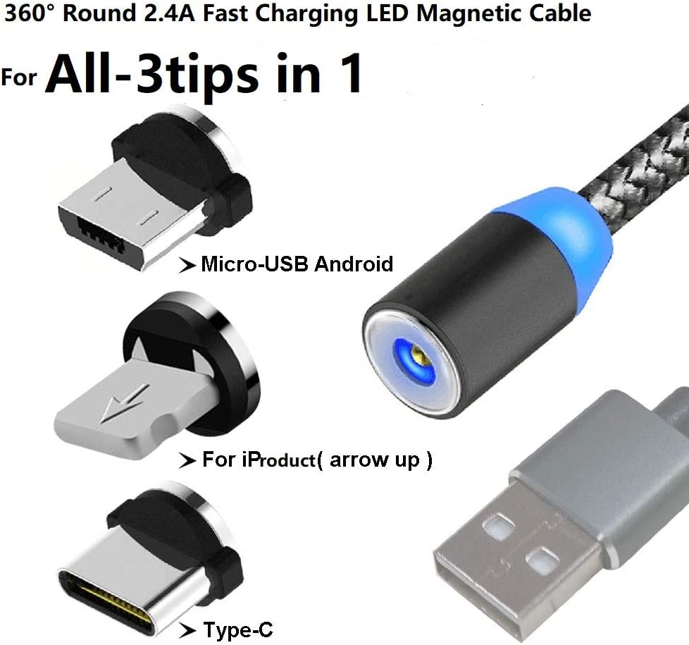 TD Lightning Cables Magnetic Charging Cable for Micro USB Cable Head 360/° Rotating Twisted Pair Cable 2M Charging Cable Fast