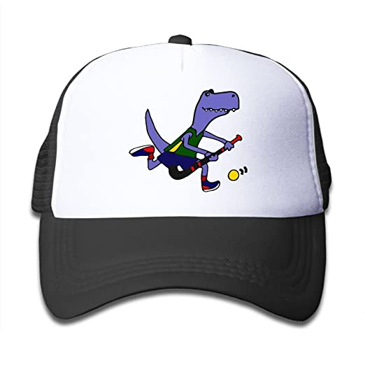 Amazon.com  T-Rex Dinosaur Playing Field Hockey On Boys and Girls Trucker  Hat 730766f14b7e