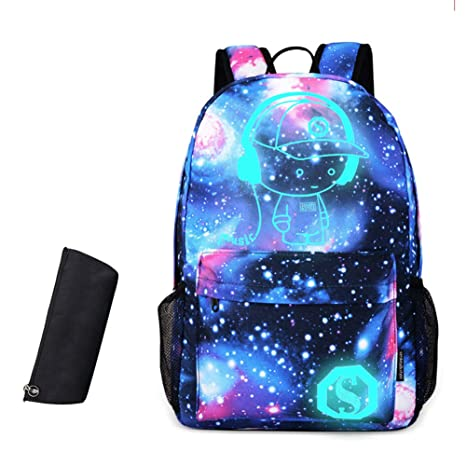 60207b11b531 Gorgebuy Luminous Backpack + Music Boy Galacxy Outdoor Childrens Schoolbag  + Anti-Theft Lock + Pecil Case + USB Cable for Boys and Girls (Galacxy)  ...