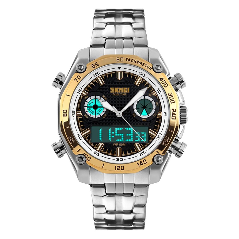 Men 's Large Dial/スチールバンド防水時計/ファッションデュアルオスform-c B06XCDFT1Q