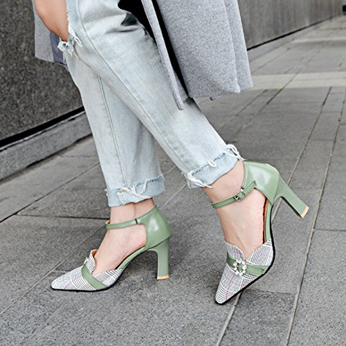 Taoffen Bride Cheville Sandales Mode Strap Femmes Green RTq6rR