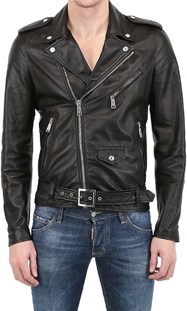 New Mens Biker Lambskin Leather Jacket LT284
