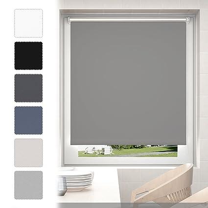 Tenda oscurante avvolgibile 75 x 170cm Grigio Tenda a rullo termica con  morsetto montabile senza fori - altezza 170 cm per finestre e porte