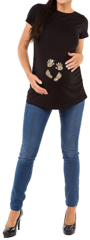 Para Mujer Camiseta premam/á T-Shirt estampado pies manos beb/é Happy Mama 013p