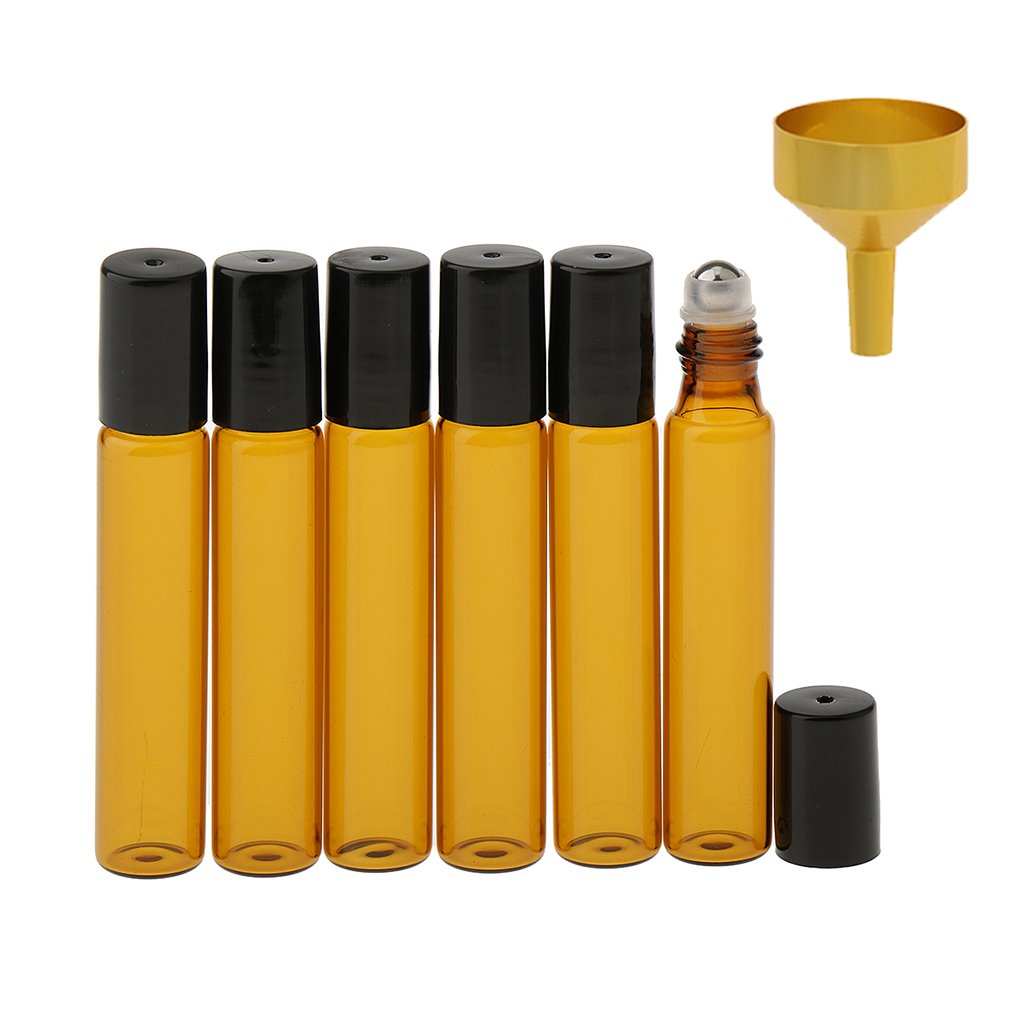 Sharplace 6 pezzi 10ml Rotolo Vetro Vuote Bottiglia di Profumo con Imbuto
