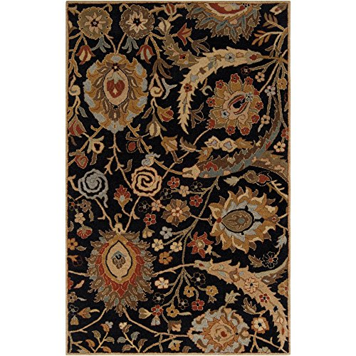 A154 Ancient Treasures (Surya Ancient Treasures A-154 Classic Hand Tufted 100% Semi-Worsted New Zealand Wool Coal Black 9' x 13' Traditional Area Rug)