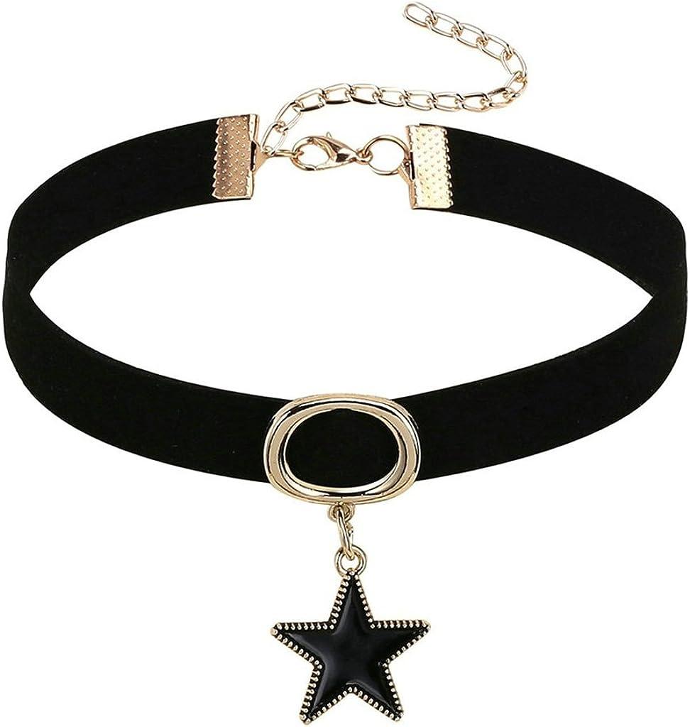 KnSam Gargntilla Acero Inoxidable Mujer, Chocker Terciopelo Tatuaje Circulo Negro Zipper Estrella Collar Negro Oro