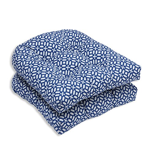 Pillow Perfect Outdoor/Indoor in The Frame Wicker Seat Cushion (Set of 2), Sapphire (Patio One Cushions Pier Furniture)