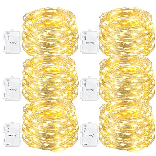 Oak Leaf 60-LED Fairy Lights,6-Pack Battery Operated String Lights,Warm White,9.8ft -