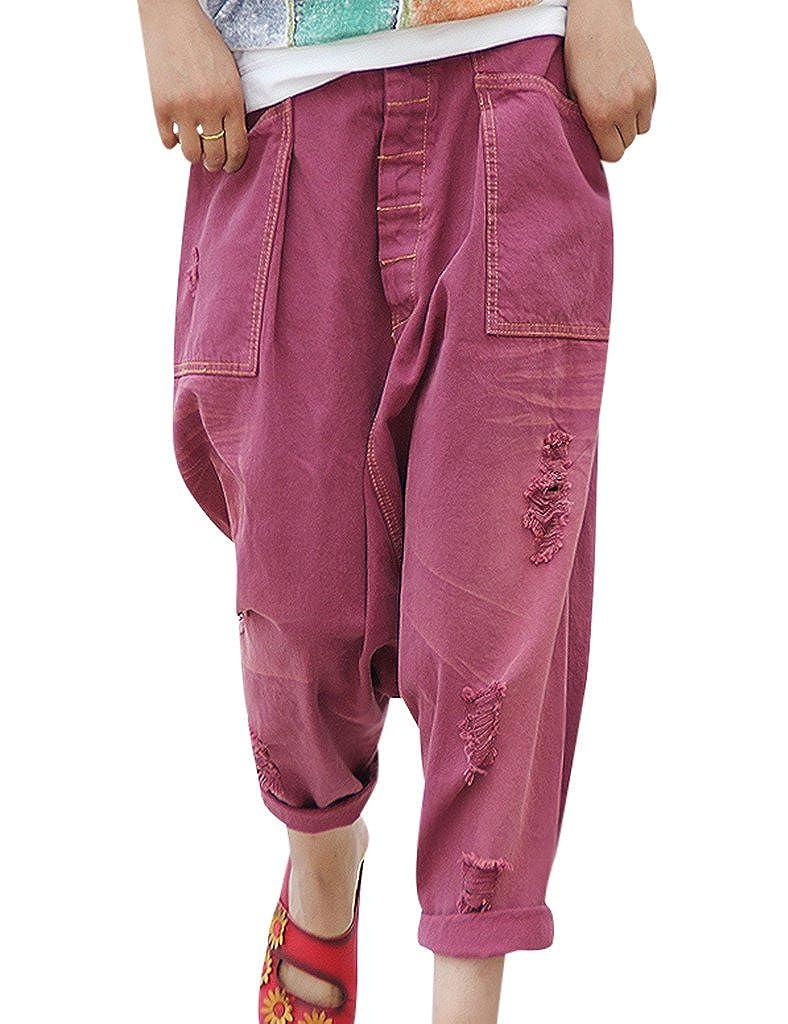 Harem Crotch Jeans Youlee Trous Femmes Des Big Pantalon uTJ3l1FKc