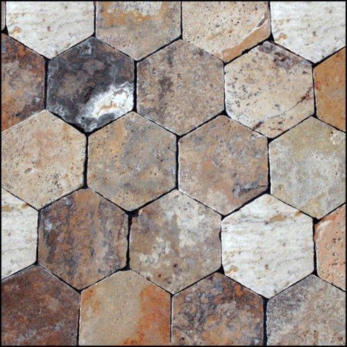 Epoch Tile SCHEX Scabos Tumbled Travertine Hexagon