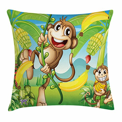 Nursery Throw Pillow Cushion Cover by Ambesonne, Two Monkeys Near the Banana Plant Tropical Nature Landscape Vine Funny Animals Apes, Decorative Square Accent Pillow Case, 24 X 24 Inches, Multicolor