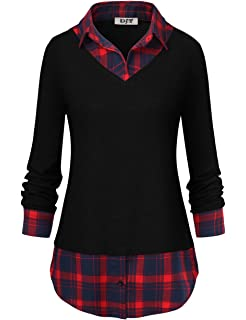 616f2ce1414 DJT Women s Classic Collar Curved Hem 2 in 1 Knit Pullover Plaid Contrast T- Shirt