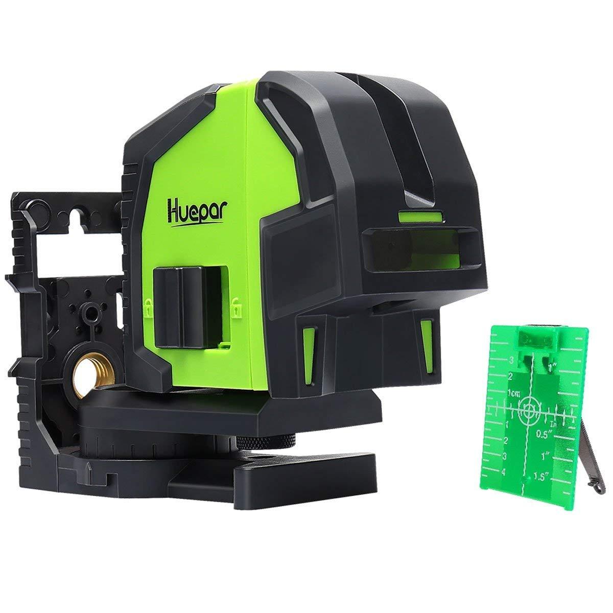 Huepar 8300G Niveau Laser avec 3 Laser Points Vert, Professionnel Niveau Laser Multipoints du Faisceaux Vert, Auto-nivellement Point d'Aplomb, Distance de Travail 60m, Support Magné tique Incluse Auto-nivellement Point d' Aplomb Levelsure