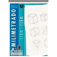 Caderno Colado Milimetrado A3 Branco Académie 50 Folhas, Tilibra, 121711 - 1 un