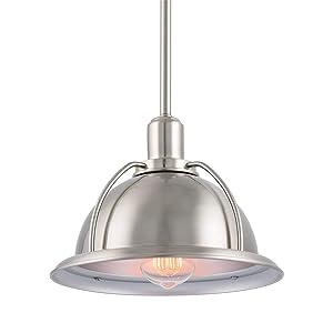 "Kira Home Bennett 9.5"" Modern Industrial Hanging Pendant Ceiling Light, Adjustable Height, LED Compatible, Brushed Nickel Finish"
