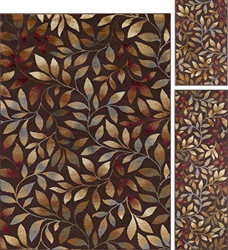 (Katniss Transitional Floral Brown 3-Piece Area Rug Set, 3-Piece Set)