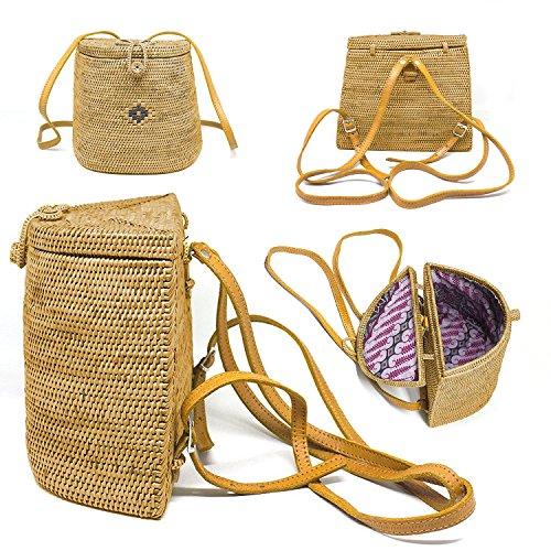 Style basket Bali Rattan satchel Backpack Back Box Vertical Bag bag Crossbody purse Javacrafts d876qYw7