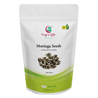 Yogi's Gift - Organic Moringa Seeds 10 oz ~Approx 1000 Seeds | Edible & Viable for Germination | Indian Origin | Non-GMO | Semillas de Moringa : Garden & Outdoor