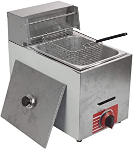 Commercial Light weight Stainless Steel Countertop LPG Gas Fryer with 10L Basket x1