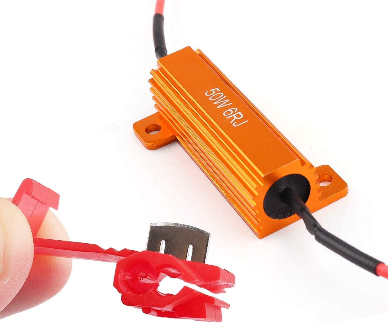 Pack of 2 Resistor gets very hot during working LEDEAGLE 50W Load Resistors Fix LED Bulb Fast Hyper Flash Turn Signal Blink Error Code