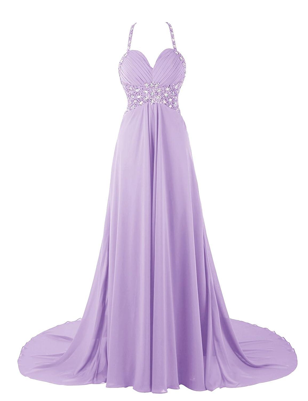 Dresstells Damen Abendkleider Lang Neckholder Rückenferi Ballkleid DT90632