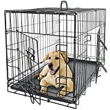 36'' Dog Crate 2 Door w/Divide w/Tray Fold Metal Pet Cage Kennel House for Animal