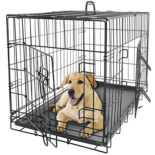 36' Dog Crate 2 Door w/Divide w/Tray Fold Metal Pet Cage Kennel House...