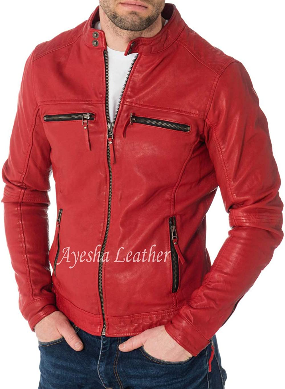 Ayesha Mens Leather Jackets Motorcycle Bomber Biker Genuine Lambskin 25