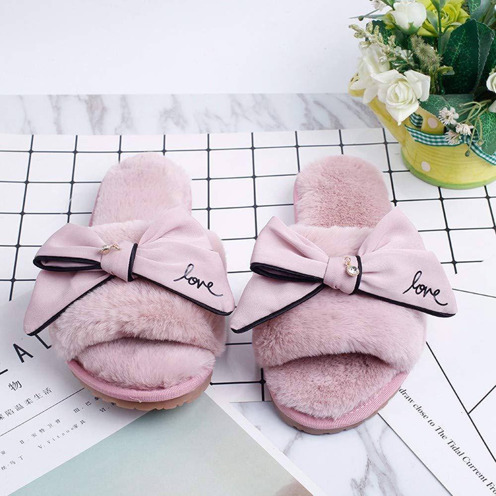 SALICEHB Schuhe Frauen 2018 Winter Home Und Hausschuhe Warme Und Home Gemütliche Hausschuhe Indoor Faux Fur Weiche Doodles Bogen Damen Schuhe 5c15c5