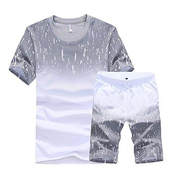 209f482e8ad17 Hombre Chándal Set De Ropa Camiseta Y Pantalones Cortos Deportivas  Tracksuit 2 Manga Corta Conjunto De Ropa  Amazon.es  Deportes y aire libre