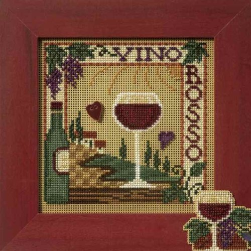 Vino Rosso Beaded Counted Cross Stitch Kit Mill Hill MH147102 Buttons Beads 2007 - Vino Rosso Red Wine