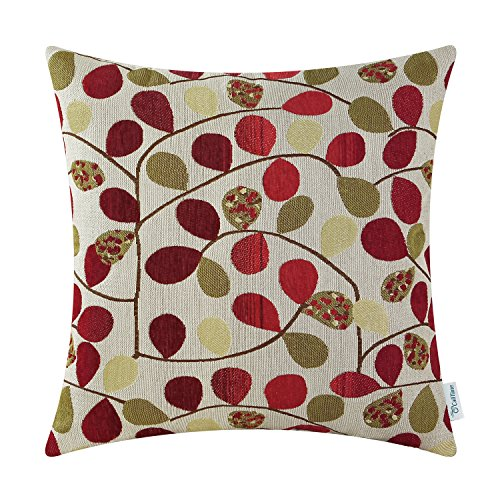 CaliTime Cushion Cover Throw Pillow Case Shell Couch Sofa Home Decoration Luxury Chenille Cute Leaves Both Sides 20 X 20 Inches Ecru Red ()
