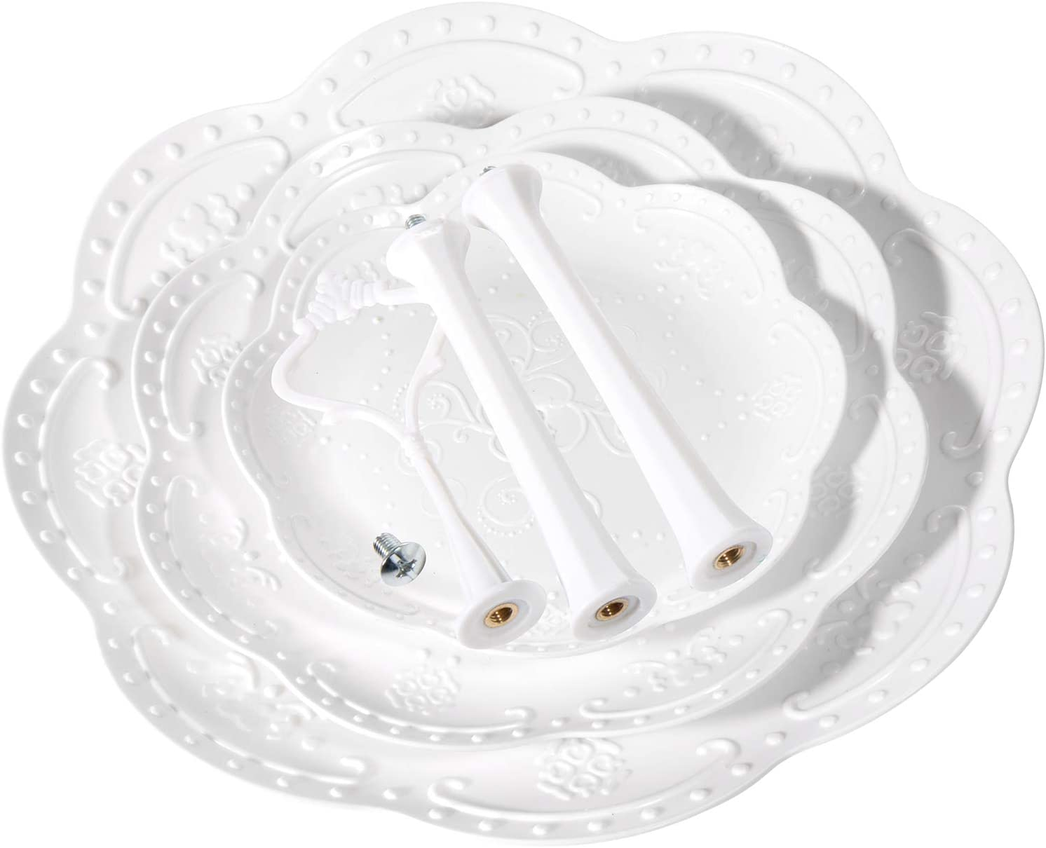Frutta Czemo 2//3 Strati di Frutta Piastra Supporto Alzata per Dessert Muffin//Alzata in Plastica per Frutta e Dolci,White
