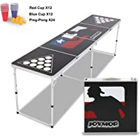 JOYMOR Beer Pong Table 8 FT for Drinking Games, Heavy Duty Foldable Party Pong Tables with 24 Cups & Ping-Pongs, Upgraded Beer Pong Set for Adults