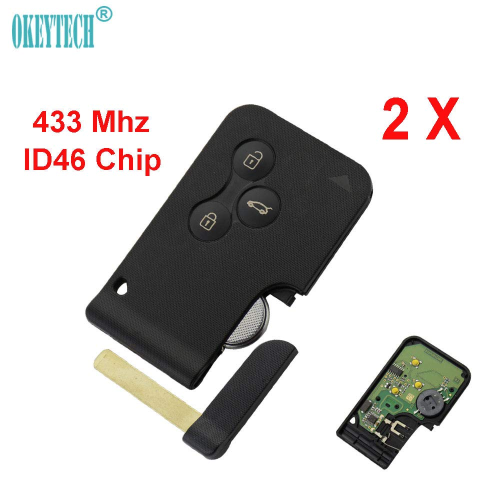 OkeyTech 2X 3 Button Smart Card 433Mhz ID46 Chip For Renault Clio Logan Megane 2 3 Koleos Scenic Card Car Key Fob With Small Key
