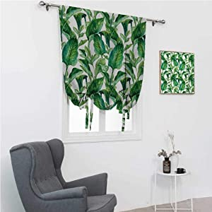 """Roman Window Shades Plant Tie Up Curtains for Window Equatorial Leaves in Hand Drawn Watercolor Style Artwork Botanical Petal Spring 42"""" Wide by 72"""" Long Green Jade Green"""