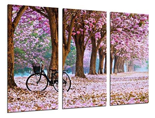 Cuadro Fotografico Camino Bosque en Otono, Camino de Flores Rosas Tamano total 97 x 62 cm XXL