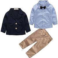 Conjunto de Tres Piezas para Bebé Niño Camisa de Manga Larga + Chaqueta + Pantalones Traje de Bautizo Fiesta Boda…