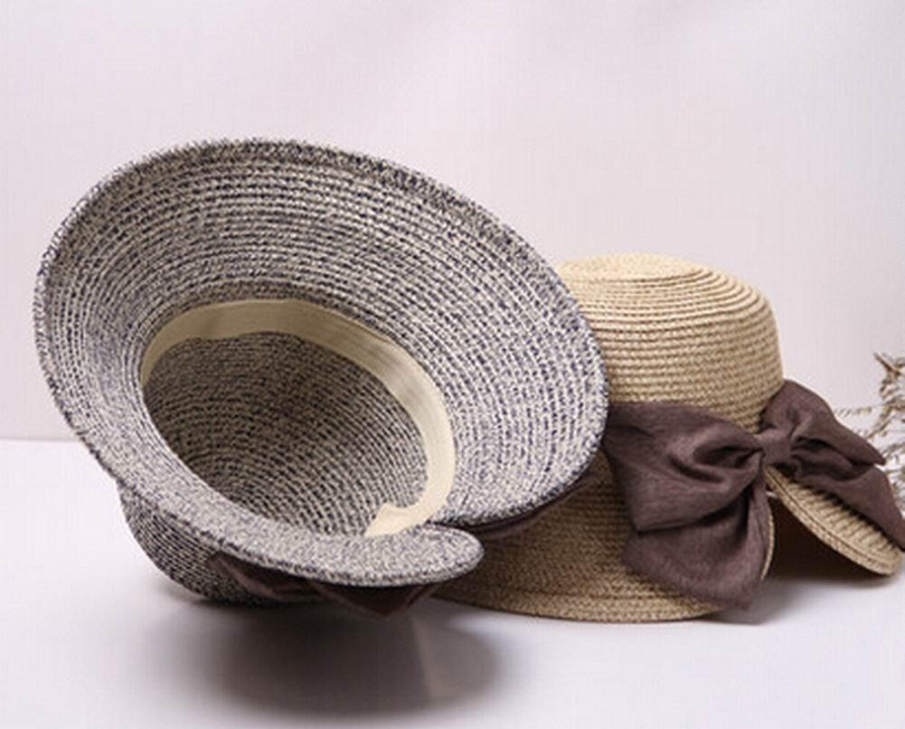 Alien Storehouse Fashion Women Summer Straw Hat Beach Hat Wide Brim Hat Bow Khaki by Alien Storehouse (Image #2)