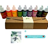 Skin Safe, Vegan, Gluten Free Food Grade Dye - 9 Soap Dye Bath Bomb Coloring and FREE Natural Coloring eGuide. DON'T BE SURPRISED if you recieve 10 BOTTLES!