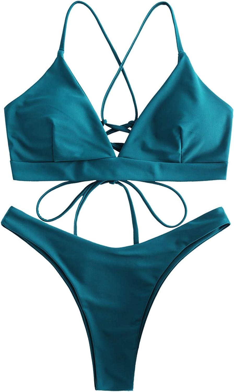 ZAFUL Lace-up Bikini Set mit Criss Cross Schn/ürung hinten /überqueren Tanga Badeanzug Bikinis