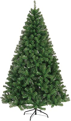 DULPLAY PVC Artificial Christmas Tree,Green Decorated Trees Auto-Spread Premium Spruce hinged Metal Stand for Indoor outdoor-210CM