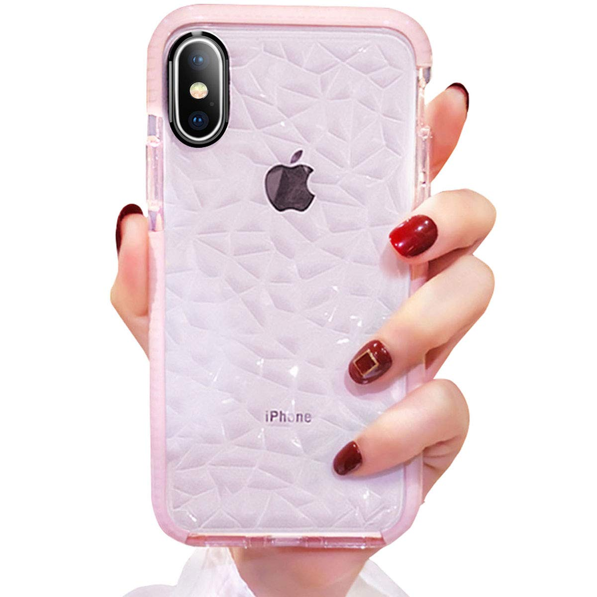 Compatible for iPhone X/XS Case Girls Women Cute Clear Cover with Diamond Pattern Design Slim Soft TPU Protective Shell Pretty Fashion Girly Phone Case Compatible iPhone X/XS (Pink)